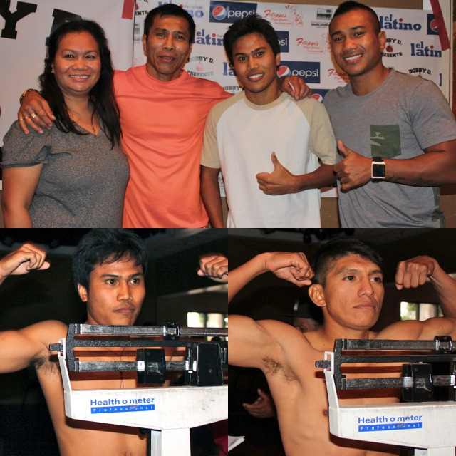 Mom and Pop Gesta join their two sons, Nescito Jr. and Mercito for a photo at Thursday's weigh-in. Below the two boxers, Nescito Gesta Jr. (l) and Pablo Cupul (r) weigh-in.