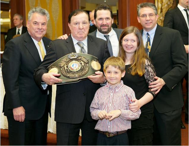 (left to right) New York State Boxing Hall of Fame Nominating Committee memberSteve Farhood, manager Shelly Finkel and Bob Duffy.