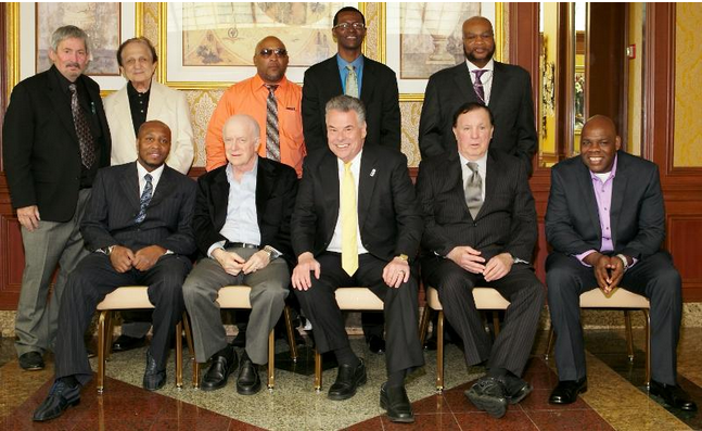 "(L-R) Standing: NYSBOF & Ring 8 president Bob Duffy, Tony Graziano, James ""Buddy"" McGirt, Mark Breland, Eddie Mustafa Muhammad, seated: Junior Jones, Shelly Finkel, U.S. Congressman Peter King, Bobby Cassidy and Iran Barkley. Photo: Peter Frutkoff"