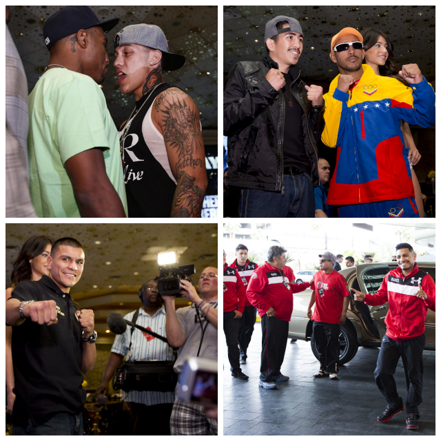 The other headliners followed. (top right photo) Leo Santa Cruz (l) and Alexander Munoz (r) pose for photos at their weigh-in. Daniel Ponce De Leon (bottom left) and Abner Mares (r) arrive. At their weigh-in, Love and pose for a stare down photo.
