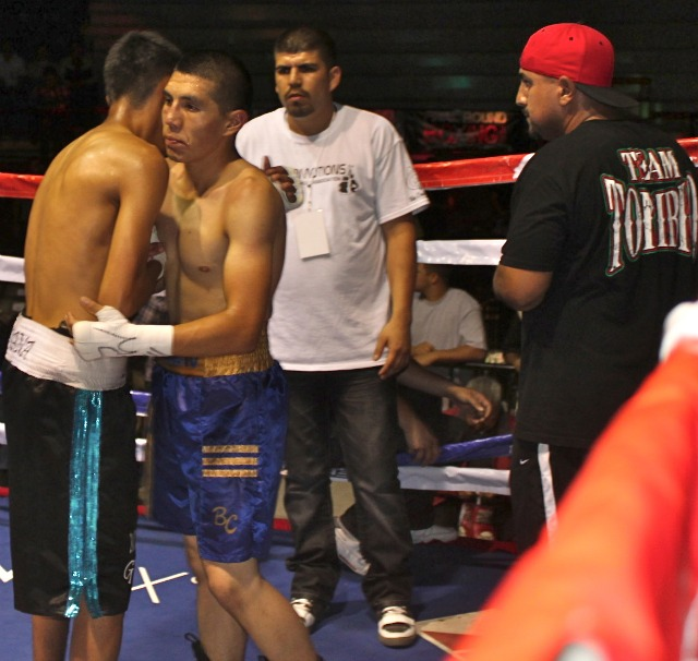 "At the conclusion of their bout on Saturday night, Saul ""Baby"" Hernandez, the winner, walks over to the Jose Toribio corner to wish his  well. Photo: Jim Wyatt"