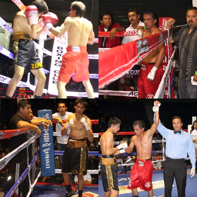 "In Bout #1, it was Christian ""Cazador"" Torres (red trunks) of Guadalajara, Jalisco, Mexico getting up off the canvas to defeat Javier Miranda (black trunks) of Tijuana. Photos: Jim Wyatt"
