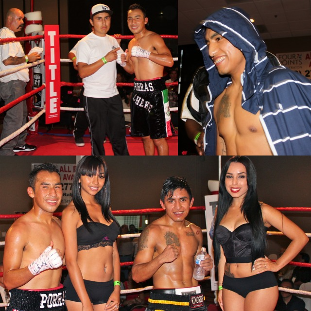 (bottom) At the conclusion of their hard fought battle, Jorge Porras (L) and Adrian Rodriguez (C) posed for photos with the lovely Ring Card girls.