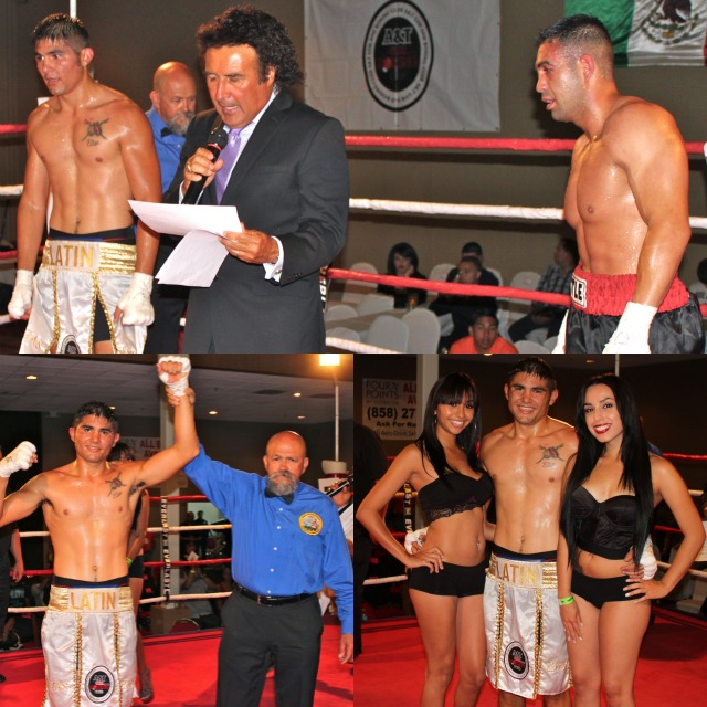 "Middleweight Elias Espadas (2-1-0, 1 KO), the Olympic Qualifier from Merida, Yucatan, Mexico, showed off his boxing skills against Greg ""The Phoenix"" Baca (0-3)"