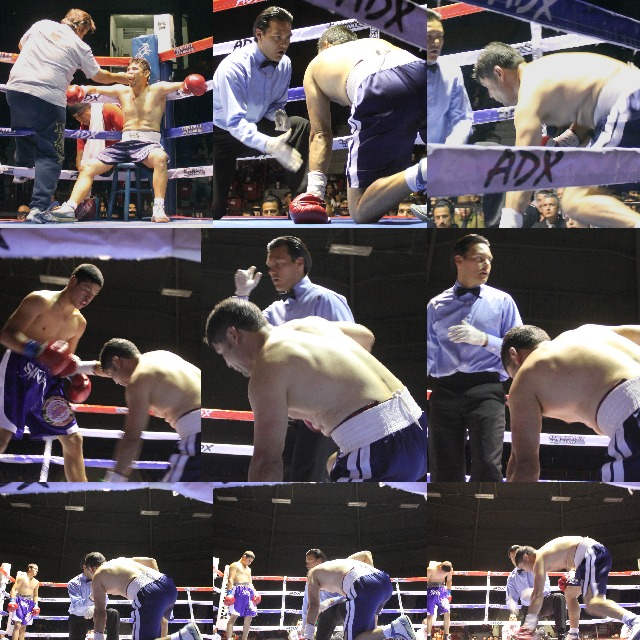 "Muhammad Ali would have been yelling, ""Get up you bum!"" On Saturday night, light welterweight Ramiro Rosales lasted all of four minutes and 14 seconds against his chum Victor ""Cina"" Fonseca. Photos: Jim Wyatt"