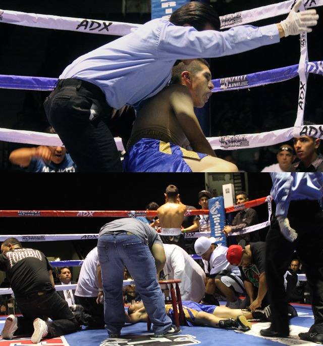 Unable to beat the count, referee Christian Curiel signals that Jose Toribio is unable to continue. Moments later, the fight doctor and Toribio's entire  support group gather around their fallen comrade.Photo: Jim Wyatt