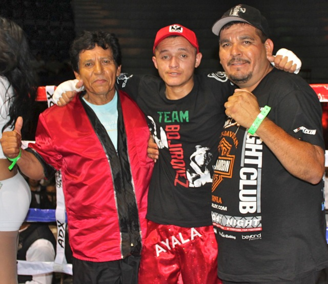 "The collage above shows some of the battering that Christian ""El Coralillo"" Nieto inflicted on his opponent Benjamin Perez. Photo below shows  the winner, Christian Nieto posing for a photo with his coach Emilio Bojorquez Sr. (r)."