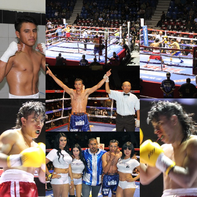 """They had your classic righty versus lefty matchup in Bout #7 featuring Julio """"Nino"""" Castillo (blue trunks) going up against Felipe Reyes (red trunks."""