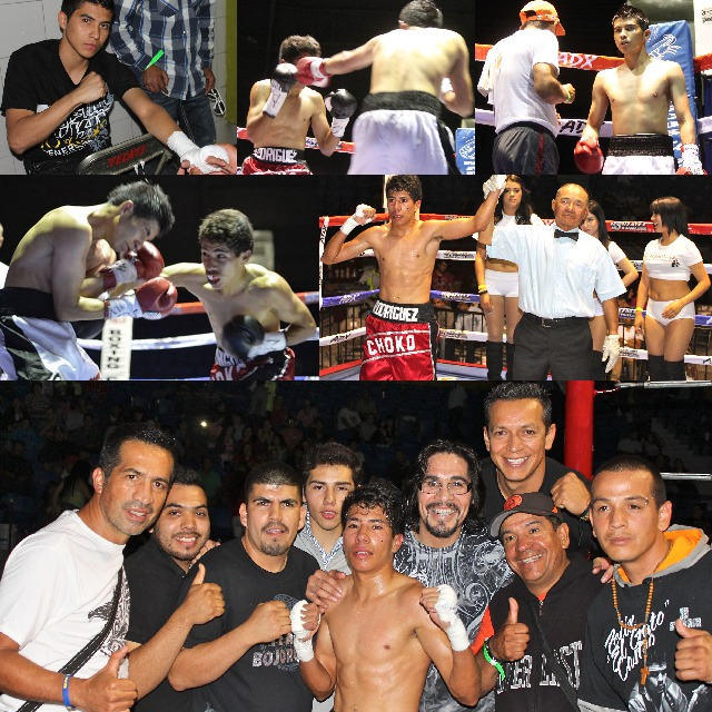 """Abraham """"Choko"""" Rodriguez, with his mentor, the former welterweight champion, Antonio Margarito in his corner, taking on 22 year-old Carlos Lopez"""