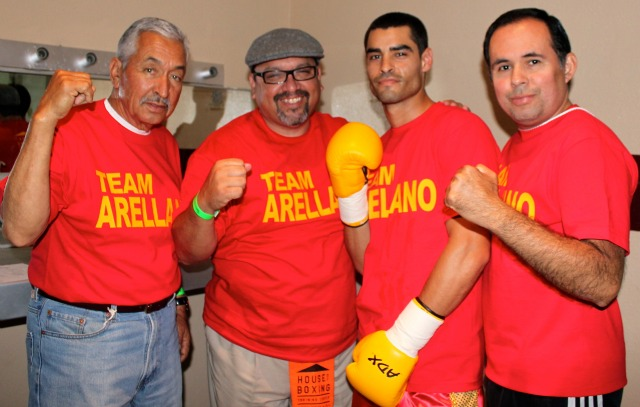 Behind every exceptional boxer you usually find a rock solid support team. Israel Arellano and his brother Antonio have (left to right) both Carlos Barragan Sr. and Jr., Saul Carrasco and Lou Messina (not shown). Photo: Jim Wyatt