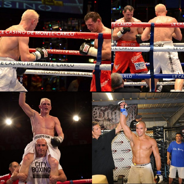 (top) Photos from the Zsolt Erdei fight of March 30, 2013. (bottom right) Carlos Baruch, Denis' coach has his arm raised after winning an MMA match in the Xplode Fight Series, Valley Center, CA.