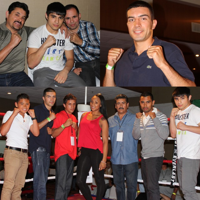 "Up and coming stars (l to r) Rey Gamez, Pablo Armenta, Christian Torres, Kandice Williams, promoter/matchmaker Jorge Marron, Kevin Torres and Roque ""Rocky"" Ramos. The list of Ramos' credits: over 130 amateur fights, 2001 & 2002 Boxers for Christ Champion, 2003 Mexican National Champion, 2003 Pan American Gold Medalist, 2005 Mexican National Bronze Medalist, 2010 B.C.R. Belt Tournament Champ, etc."
