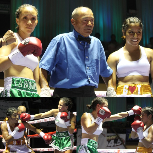 (top) Prior to their bout at Salon Las Pulgas, Kenia Enriquez (r) and Gloria Salas (l) pose for photos with referee Juan Morales Lee. Photos: Jim Wyatt