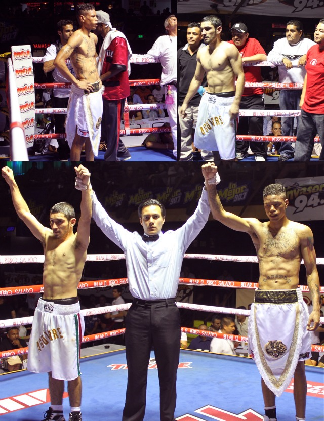 (bottom photo)  Prince Tiger Smalls (r) and his opponent Erick Aguirre have their arms raised by referee Christian Curiel after their draw.