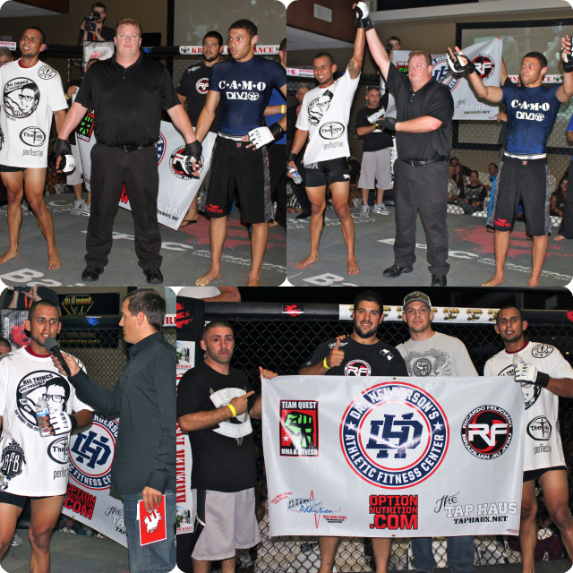 """Bout #7, in the 145-154 pound weight class, featured 5'11"""" southpaw, Julio Aguilera (1-4) of Murrieta, CA and training at the Team Quest MMA gym in Lake Elsinore, CA taking on 5'11"""" Joey Bryant-Sowka"""