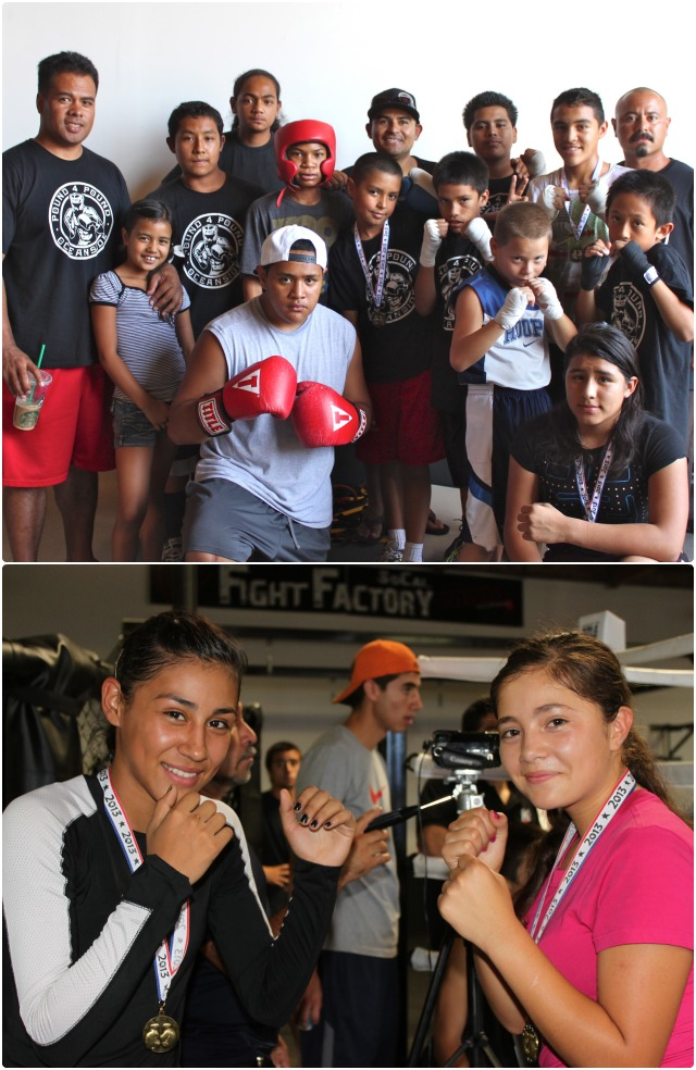 "(top photo) The formidable Pound4Pound Boxing Team which includes Lambert Arias, Juan ""El Tigre"" Padilla, Brenton Perez, J. R. Wong, Jasmine Mosqueda, Eric Puente, Talo Wong, Simi ""Super Fly"" Makihele, Shenoa Makihele, Sio Makihele, Leo Cruz, Elijah Fesili, plus coaches Ivan Puente, Sio Makihele, and Michael J. Figueroa traveled all the way from Oceanside to perform. (bottom) Angie ""La Diablita"" Martinez (r) sparred against Heidy Cardenas (l)."