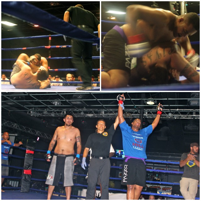 In Bout #2, it was Kieshaun Hill (bottom right) getting the win over tough guy Art Rivas. Referee Jason Herzog is shown raising his arm in victory.