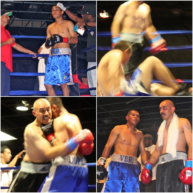 In the above collage we see Jesus Lopez taking a early seat on the canvas after Victor Medina caught him flush in Round #1. Lopez then spent the rest of the fight making up for the boo-boo.