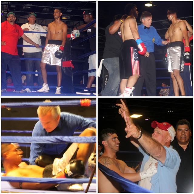 (top, right photo) Bout #4 lasted all of 38 seconds after Ricky Gutierrez (l) began landing the hard shots to the head and body of Pablo Pantaleon (r).