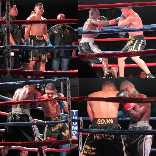(bottom left photo) Giovani Santillan of San Diego has his opponent, Adam Ealoms pinned in the neutral corner.
