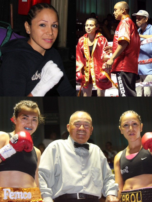 (top, left to right) Pre-fight, Carol Castro prepares for her battle with Brenda Flores. Next we see Brenda Flores in her corner to prepare for her fight against Carol Castro. (below) the fighters pose for a photo with referee Juan Carlos Lee just before the start of action.