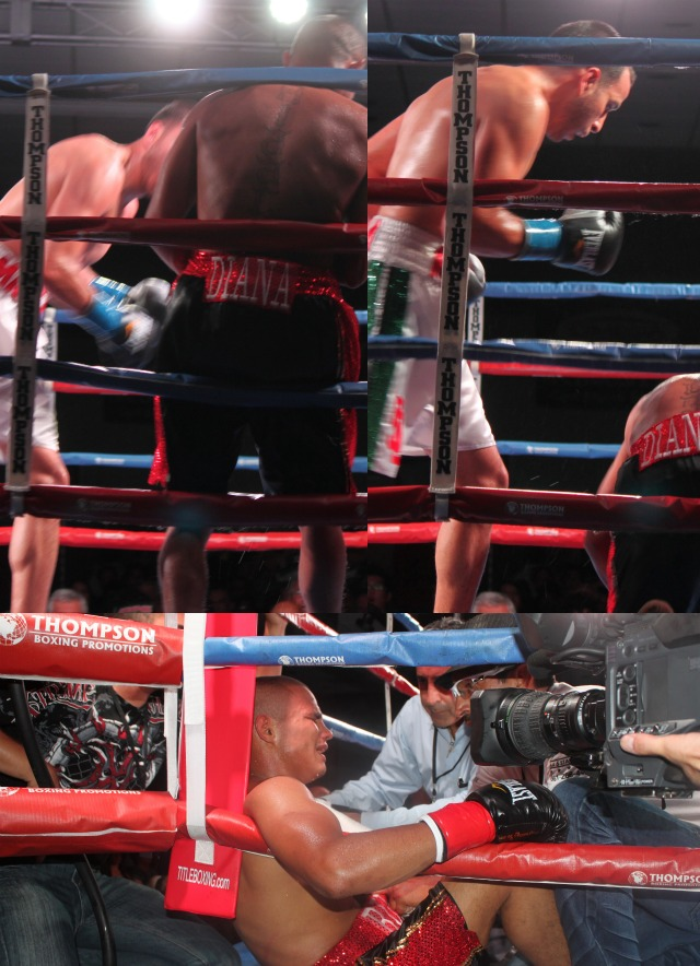 In the above collage, we see Christopher Martin (white trunks) finally getting his act together with solid combinations which in the end broke his opponent down. (bottom) we see the saddened Raul Hidalgo being consoled by his support staff.