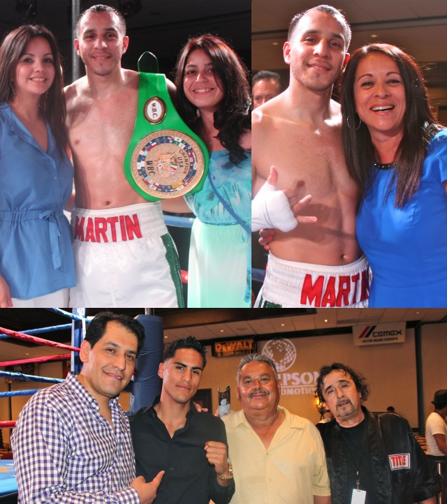 "In the above photos, Chris Martin is joined by his wife, cousin and finally his mother. Below we have Alex Camponovo, the General Manager of Thompson Boxing Promotions with a young fighter, Jorge ""Tito"" Ruiz, his father and coach, Sergio Melendrez. On this evening they were discussing Ruiz's first fight on the July 26, 2013 Thompson boxing card."