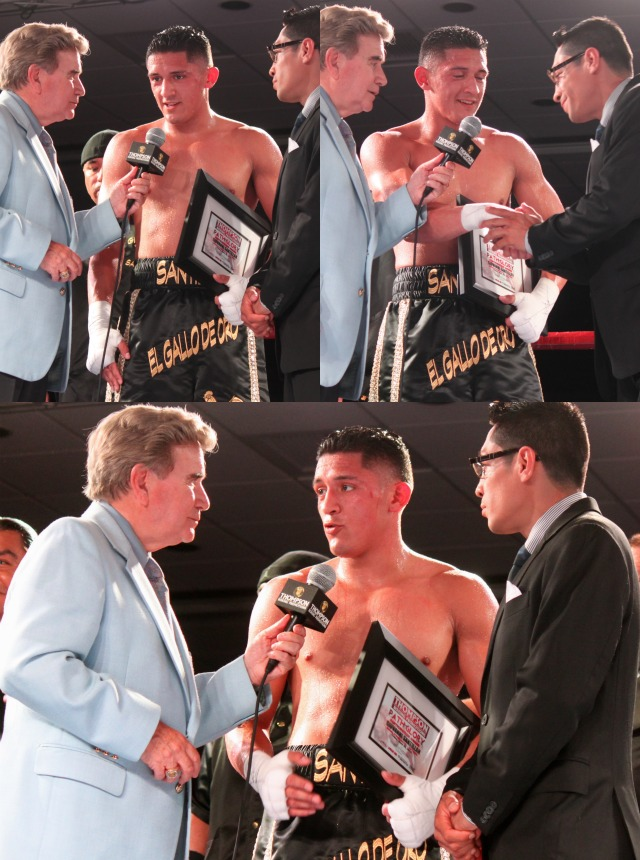 At the conclusion of his bout, Giovani Santillan is show being interviewed.