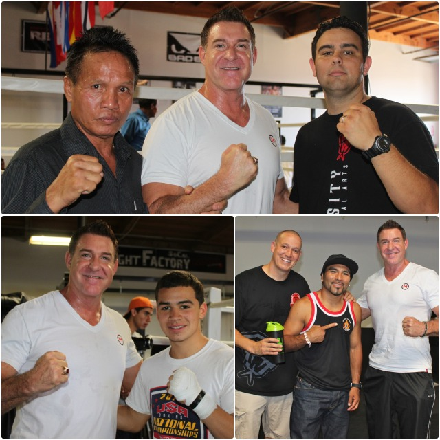 The big guy in the white shirt is former Marine Corps Captain Carlos Kremer (now announcer, MC, show host for Epic Fighting and owner of Kremer Insurance couldn't wait to meet all the celebrities from the fighting sports. (top photo) Kremer stands between Kru Sommai Ekyotin former Thailand Champion (l) and former fighter, now gym co-owner Robert Aldama. (below) he's with Genaro Gamez (l) and present day mixed martial artist John Vargas, another co-owner of the Intensity MMA & Fitness Center.