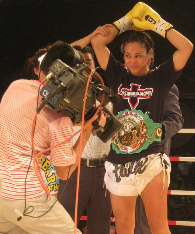 """Here comes the champion, my friends!"" This evening at the Pechanga Resort & Casino in Temecula, CA, the WBC Muay Thai Women's Lightweight Champion of the World, Miriam Nakamoto of Dublin, California will be defending her title against Aleide Lawant of Holland. All photos: Jim Wyatt"