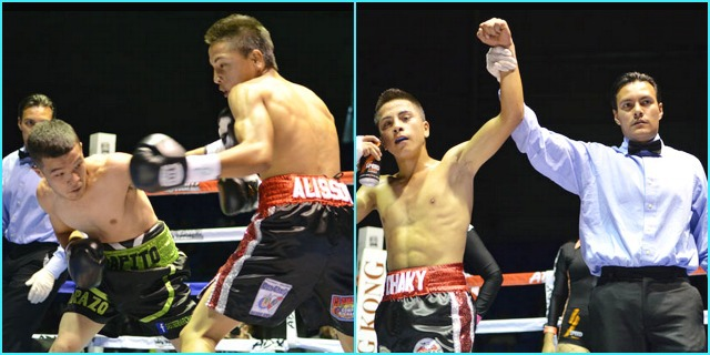 "At the conclusion of Bout #1, 16 year-old Victor ""Chaky"" Sandoval has his arm raised in victory by referee Cristian Curiel."