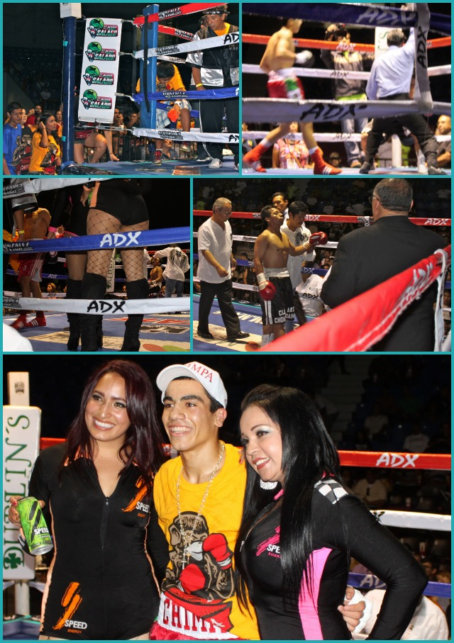 At the conclusion of his quickie win over Alfredo Echeverria, Christian Gonzalez has photos taken with the young ladies from the Speed Beverage Company.