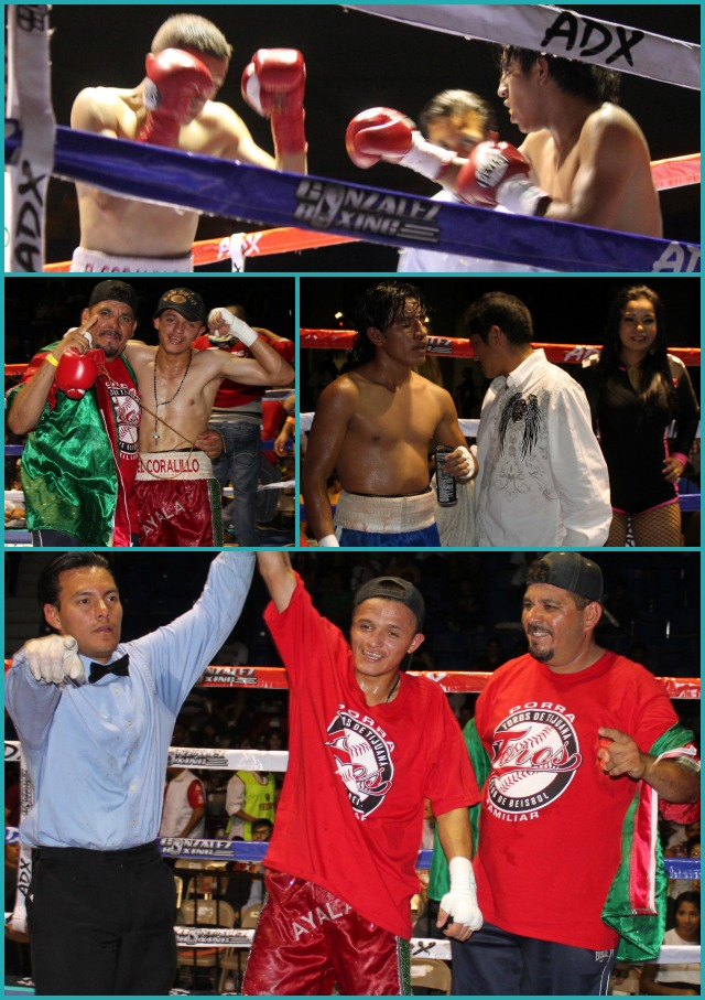 At the conclusion of bout #5, Christian Ayala has his arm raised in victory after defeating Felipe Reyes.