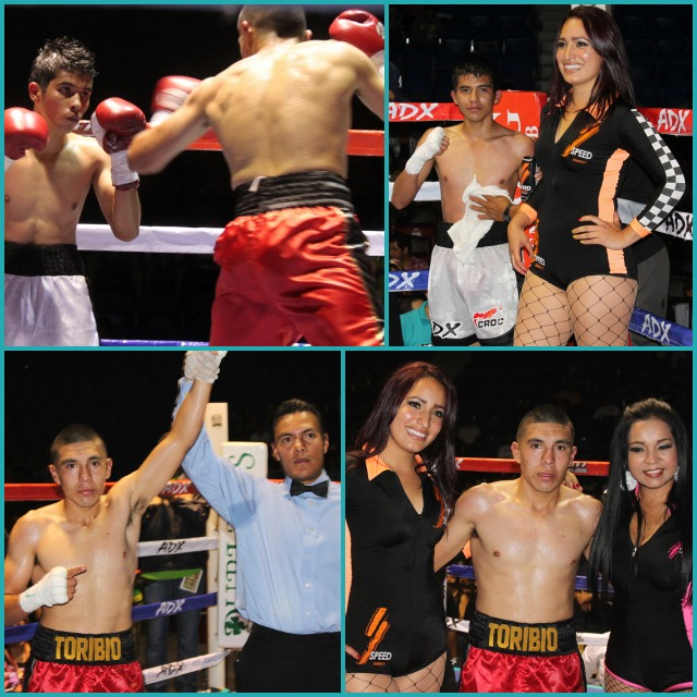 At the conclusion of Bout #3, Jose Toribio has his arm raised in victory by referee Cristian Curiel.
