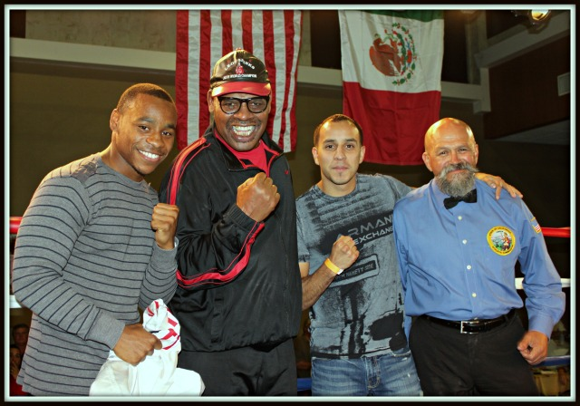 Chris Martin with Brandon Adams Jose Cobian y Leon Spinks