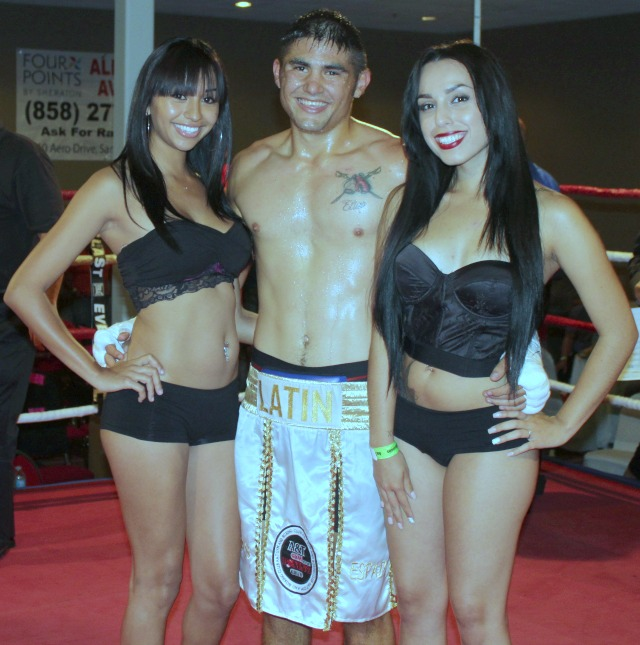 Elias Espadas is shown posing for a photo with two of the lovely ring card girls after defeating Greg Baca back on June 21, 2013 at the Four Points by Sheraton Hotel in San Diego. All photos: Jim Wyatt