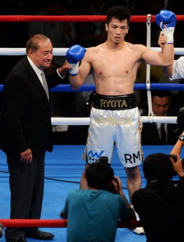 Ryota Murata of Japan along with boxing promoter Bob Arum together celebrate Murata's victory. Photo: Atsushi Tomura/Getty Images for the 2012 middleweight Olympic Gold Medalist