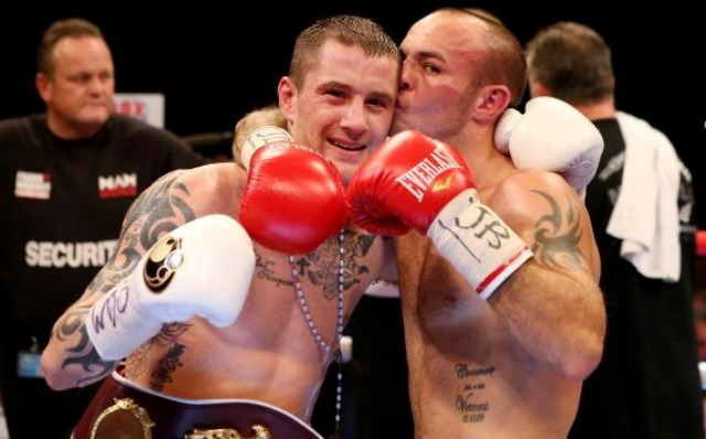 You have to be a likeable guy if your opponent gives you a kiss after you beat him up for 12 rounds. Ricky Burns is shown here celebrating his victory over Kevin Mitchell after the WBO World Lightweight Championship bout on September 22, 2012 in Glasgow, Scotland. Photo: Scott Heavey/Getty Images