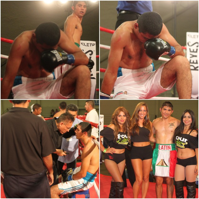 (bottom right) After defeating Jair Aguiar, Elias Espadas is joined by the ring card girls for some celebratory photos.