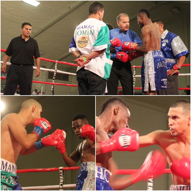 (top photo) Fighters Manuel Roman and John Amuzu (blue trunks) receive their instructions from referee David Mendoza.