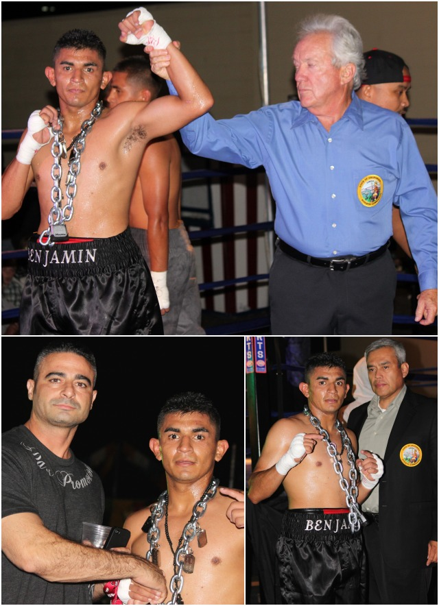 (top photo) At the conclusion of his bout with Mario Cuin, referee Pat Russell raises Briceno's arm in victory. Below Briceno poses fro a