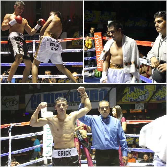 (bottom photo) Erick Martinez has his arm raised in victory by referee Juan Jose Ramirez. All photos: Jim Wyatt