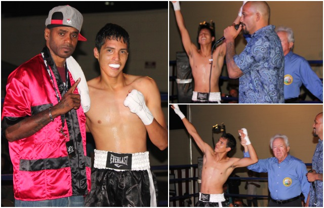 At the conclusion of his debut bout against Haigood, the funloving Johnny Rivera poses for all sorts of photos. All photos: Jim Wyatt