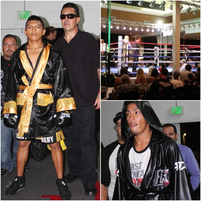 Just prior to their fight, Pablo Cupul (left) awaits his cue to enter. (below right) Carlos Carlson is shown making his entrance.