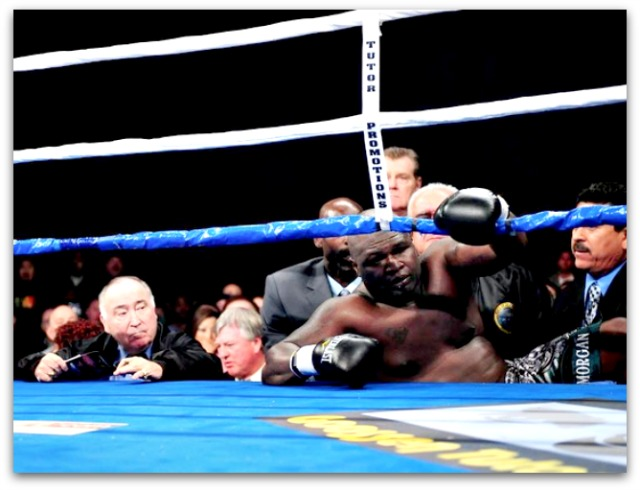 The out of shape James Toney got hit so hard he landed outside the ring.