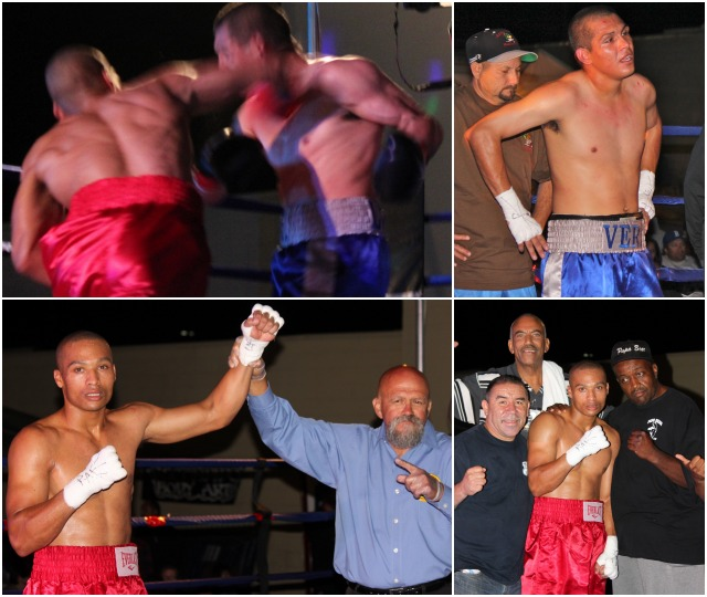 Jarrod Tennant (bottom left, red trunks) has his arm raised in victory by referee Jose Cobian.