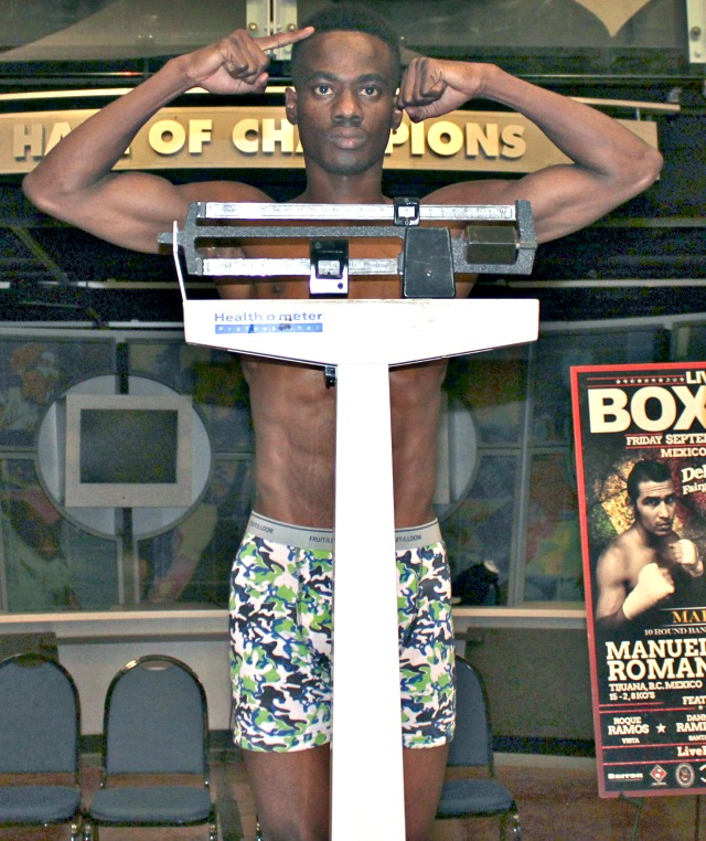 On Thursday, John Amuzu was at the same San Diego Hall of Champions for the weigh-ins for the Friday night fights at Del Mar