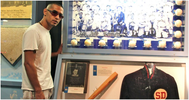 On Thursday afternoon, the day before his big fight, Manuel Roman (shown here) and his fellow fighters were the guest of the San Diego Hall of Champions located in the Federal Building inside Balboa Park. The 70,000-square-foot facility is loaded with the memorabilia you normally only see in places like Cooperstown, New York or Canton, Ohio. The Hall of Champions is known for recognizing our local homegrown sports heroes.