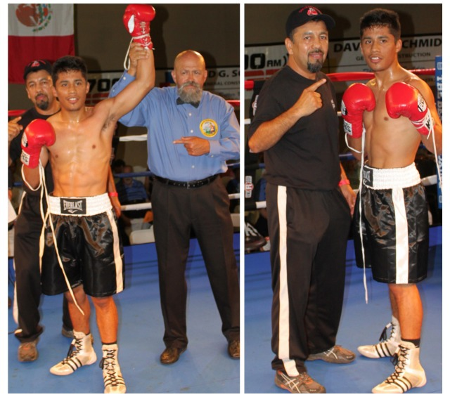 (photo left) At the conclusion of his bout with Akeenz Zamani, Luis Ambrosio has his arm raised in victory by referee Jose Cobian.
