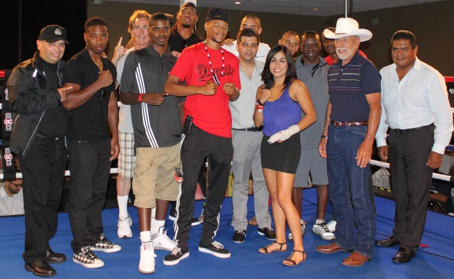 "(boxing notables introduced, l to r) Maurice ""Mighty Mo"" Hooker, Prince ""Tiger"" Smalls, Tijuana Women's Boxing Commissioner Carlos Labastida, boxer Amaris Quintana, far right, President of the Tijuana Boxing Commissioners Juan Carlos Pelayo."